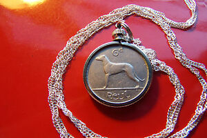 """1940 Irish Lucky Sixpence Pendant on a 18"""" 925 Silver Singapore Style Chain"""