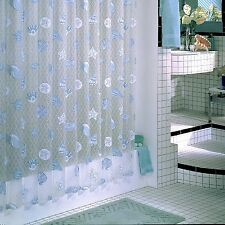 Coastal Shower Curtain Vinyl Beach Theme Blue White Seashells Starfish Bathroom