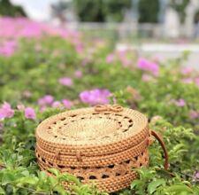Bali Beautiful Round Wicker Straw Rattan Beach Bag ラタンバッグ