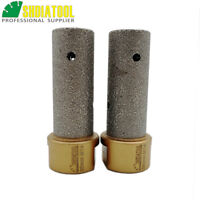 SHDIATOOL 2pcs Vacuum Brazed Diamond Finger Bits M14 Thread Milling Bits 20mm