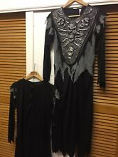"""ALL BLACK DESIGN REAPER WICKED COSTUME SCARY HALLOWEEN OUTFIT BOYS AGES 13-14"""""""