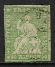 SWITZERLAND 1858 Strubel 40r. Green SG 51 Used (CV £100)