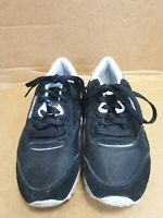 E219 MENS REEBOK BLACK WHITE SUEDE TEXTILE LACE UP RUNNING TRAINERS UK 6 EU 39