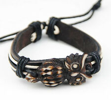 Cool Tribal style Owl leather bracelet Bangle Cuff