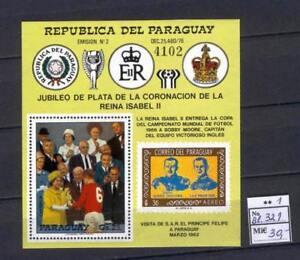 Soccer 1978 B76 MNH Paraguay Block Queen CV 30 eur