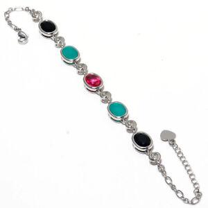"Multi Gemstone Gemstone 925 Sterling Silver Jewelry Bracelet 7-8"" F2523"
