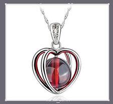 925 Sterling Silver Gemstone Garnet Heart Crystal Pendant Necklace Chain Gift D9