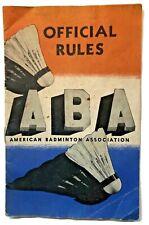 Vintage 1939 American Badminton Shuttlecock Official Rules Booklet Association
