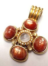 Fabulous Sunstone and Moonstone Sterling Silver with Yellow Gold Vermeil Pendant