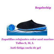 Zapatillas confort RELAJANTES ANTI-FATIGA GEL DESCANSO RELAX SUELA GOMA AZULES