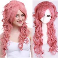 Steven Universe Rose Quartz Pink Wavy Curly Long Cosplay Wig Women Medieval Hair