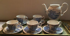 HAPPY ENGLAND Teapot 5 Cups Saucers Demitasse Set  Blue & White  Johnson Bro.