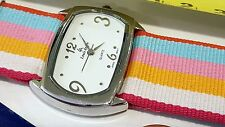 Louis Arden Quartz watch Striped orange pink band white Dial Girls Woman