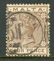 Malta 1885 QV 4p Brown Scott #12 VFU A344 ⭐⭐⭐