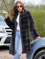 Luxury Women's Real Full Pelt Rex Rabbit Fur Coat Jacket Stand Collar Overcoat