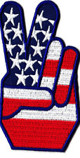 """PEACE SIGN, 2 FINGERS (3"""")--Iron On Patch/Patriotic,USA,  Biker, War, Military"""