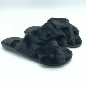 Womens Slippers Sandals Slides Faux Fur Crossover Slip On Black US Size 8/9