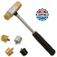 Brass Gunsmith Hammer 4 Tips Nylon Face Non-Marring Tool Driving Pins Punches