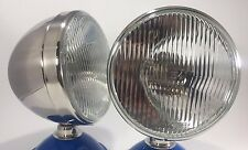 "Pair Dietz 7"" Stainless HeadLight Lamp Buckets Assembly Flat H-4 Halogen Bulb"