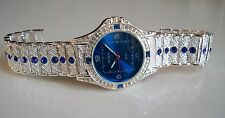 Men's hip hop CZ Bling clubbing silver finish bracelet blue stone Rapper watch