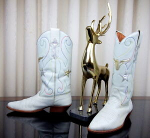 NINE WEST White Leather Steers & Stars Inlay Women's Western Boots VGUC - 8.5M