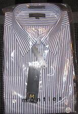 MEN'S MANTLES STRIPED BLUE/WHITE DRESS SHIRT / SIZE 17