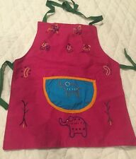 Child's Play Kitchen Apron Accessory Hand Embroidered Elephant Trunk Up Pink Htf