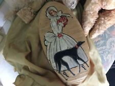 REDUCED!Antique French Silk Box, Chocolate, Hand Painted Era Lady and Greyhound