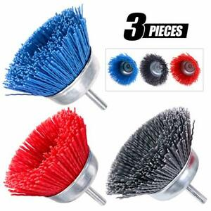 3Pcs 3'' Nylon Filament Abrasive Wire Cup Brush Kit 1/4 Inch Shank Removal Rust