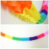 Scalloped Rainbow Paper Garland 12 Ft Long 3D Gay Pride Hanging Party Decoration