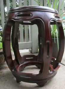 Chinese Contemporary Rosewood 5 Pole Barrel Stool End Table Stand
