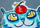 "Original ACEO Cat Painting ""Thank You Teacher"" Miniature Art By Samantha McLean"