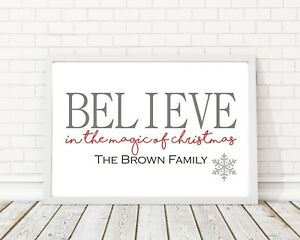 A4 Personalised Family Christmas Believe Print Poster PO196