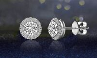 18K White Gold Plated Halo Stud Earrings with Swarovski Crystals ITALY MADE