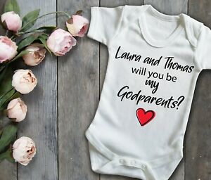 Custom will you be my godparents? white baby grow bodysuit vest