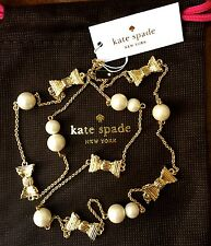 NWT Kate Spade ALL WRAPPED UP Gold Bows and White Pearls Scatter Necklace $98
