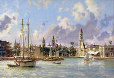 John Stobart Print - St. Augustine: A View of the Plaza and the Ponce de Leon