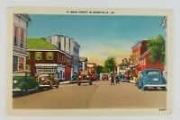 Postcard Linen Main Street in Berryville Virginia Old Cars
