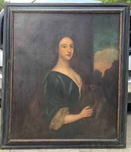 LG 17thC / 18thC Antique LADY & DOG Identified PORTRAIT Oil PAINTING Old FRAME