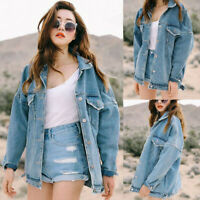 Loose Women Retro Oversize Button Jacket Casual Denim Jeans Pocket Coats Outwear
