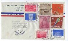 Quito Ecuador Airmail Fdc to Evanston Illinois, Eight Stamps, Colorful