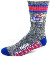 Kansas Jayhawks NCAA Four Stripe Heather Gray Crew Socks