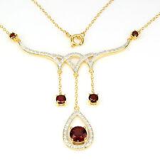 _LDN_Collier Pendentif + chaine Grenat Diamant Argent 925 + Or 14ct