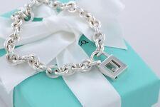 """Tiffany & Co. Sterling Silver Letter """"J"""" Padlock Charm 7.5"""" Bracelet w/Packaging"""