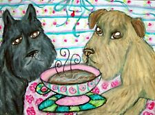 Bouvier Des Flandres Drinking Coffee Collectible Dog Art Print 8x10 Signed Ksams