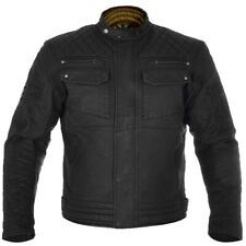 Oxford Hardy Wax Cotton Motorcycle Motorbike Textile Jacket - Black