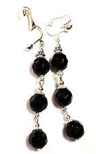 Very Long Silver Black Clip-On Earrings Glass Beads Drop Dangle Vintage Style