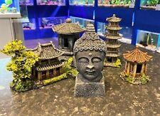 Japanese Themed Aquarium Ornaments - Buddha Pagoda Bonsai Decor