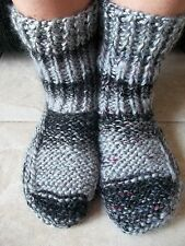 Hand knitted cozy and warm slippers/socks/booties, gray tones with black