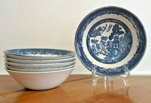 Lot of 6 Johnson Brothers England Willow Blue Cereal, Soup Bowls Transfereware